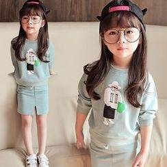Candy Baby - Kids Set: Printed Pullover + Drawstring Mini Skirt