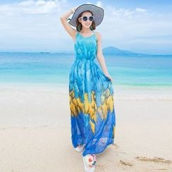 Maine - Strappy Back Printed Maxi Dress