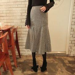 Cherryville - Gingham-Check Godet Midi Skirt