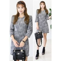 INSTYLEFIT - 3/4-Sleeve Fringed A-Line Mini Dress