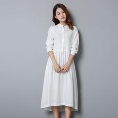 Diosa - Long-Sleeve Linen Midi Dress