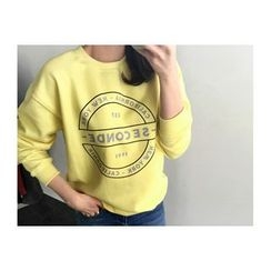 UPTOWNHOLIC - Round-Neck Lettering Pullover