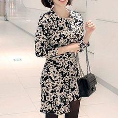 Seoul Fashion - Asymmetric-Hem Flower Pattern Sheath Dress