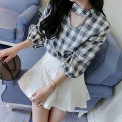 Frontline - 套装: 七分袖格子衬衫 + A字裙