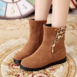 Shoes Galore - Leopard Print Panel Short Boots