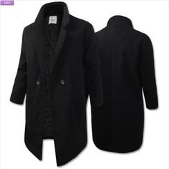 WIZIKOREA - Double-Breasted Quilted-Lined Coat