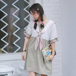 Moricode - Bunny Ear Sailor Collar Short Sleeve Dress