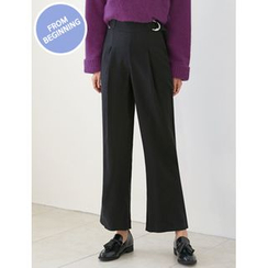 FROMBEGINNING - Buckled-Waist Wide-Leg Pants