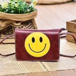 Vintage Kiss - Smiley Faux Leather Shoulder Bag