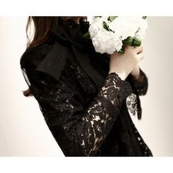 Marlangrouge - Short-Sleeve Lace-Sheer Jacket