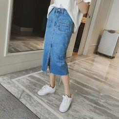 OGAWA - Slit Denim Midi Skirt