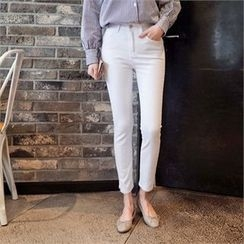 Styleberry - Slit-Hem Straight-Cut Pants