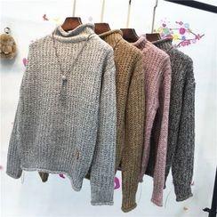 Whitney's Shop - 混色小高領粗織毛衣