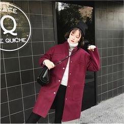 Whitney's Shop - Lettering Back Long Woolen Coat