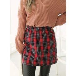 BBAEBBAE - Elastic-Waist Check Skirt
