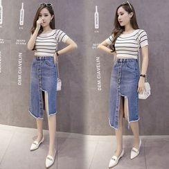 OGAWA - Asymmetric Denim Midi Skirt