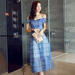 Lovi - Off-shoulder Patterned Cocktail Dress