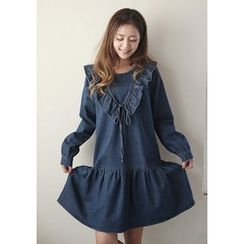 GOROKE - Frill-Trim Ruffle-Hem Denim Dress