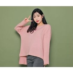 HOTPING - Contrast-Trim Ribbed Knit Top