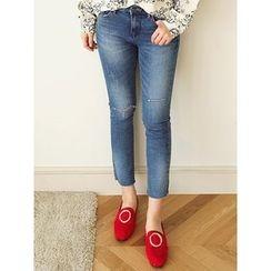LOLOten - Slit-Knee Washed Slim-Fit Jeans