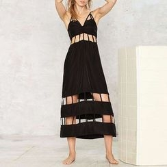 Obel - Cutout Spaghetti Strap Midi Dress