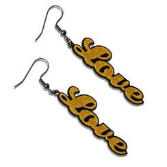 Sweet & Co. - Sweet Yellow Glitter Love Dangle Earrings