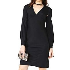 Obel - V-Neck Long-Sleeve Sheath Dress