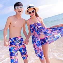 AITE - Couple Matching Set: Bikini + Beach Cover-Up + Men Swim Trunks