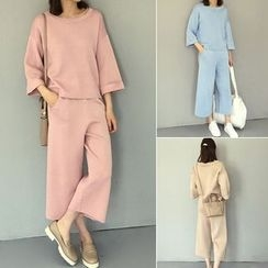 Oaksa - Set: 3/4 Sleeve Sweater + Cropped Wide Leg Pants