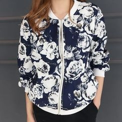 DANI LOVE - Floral Pattern Zip-Up Jacket