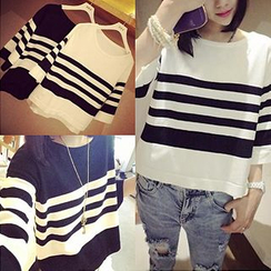 QZ Lady - Boxy Striped Crop Top