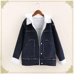 Fairyland - Letter Applique Hooded Corduroy Jacket