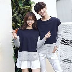 Je T'aime - Couple Matching Striped Panel Pullover