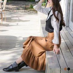 OrangeBear - Peachskin Flounce Maxi Skirt