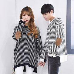 TOMONARI - Couple Elbow-Patch Stripe Knit Top