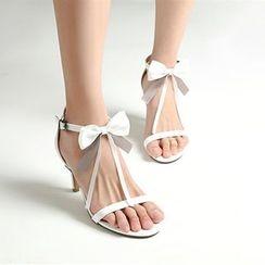YOUIN - Genuine-Leather Bow Kitten Heel Sandals