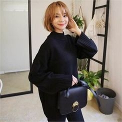 QNIGIRLS - Mock-Neck Wide-Sleeve Sweater