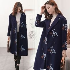 AiSun - Flower Embroidered Notch Lapel Long Coat