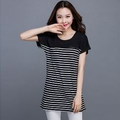 Eloqueen - Short-Sleeve Striped-Panel Top