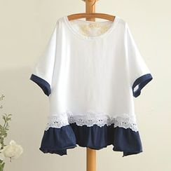 Angel Love - Lace Trim Frilled  T-Shirt