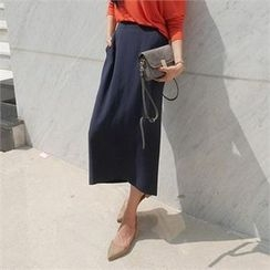LIPHOP - High-Waist Zip-Back Maxi Skirt