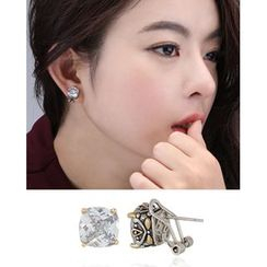 Miss21 Korea - Rhinestone Square Clip-On Earrings
