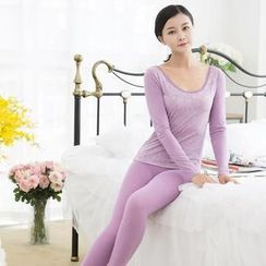 HYG Lingerie - Pajama Set : Lace-Trim Shaper Warmer Top + Pants