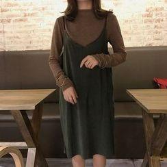 MePanda - 幼肩带V领背带裙