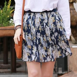CLICK - Pleated Floral Chiffon Skirt