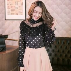 Tokyo Fashion - Long-Sleeve Lace-Paneled Dotted Top