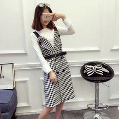 ever after - Set: Long-Sleeve Top + Check Jumper Dress