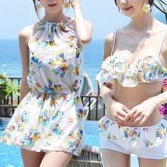 Dolfin - Set: Floral Print Bikini + Swimdress