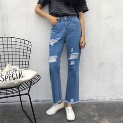 MePanda - Distressed Straight-Cut Jeans