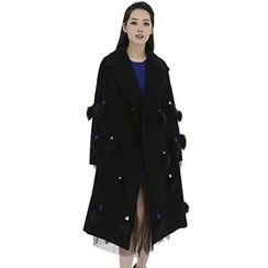 Neeya - Gemstone Faux Fur Panel Coat